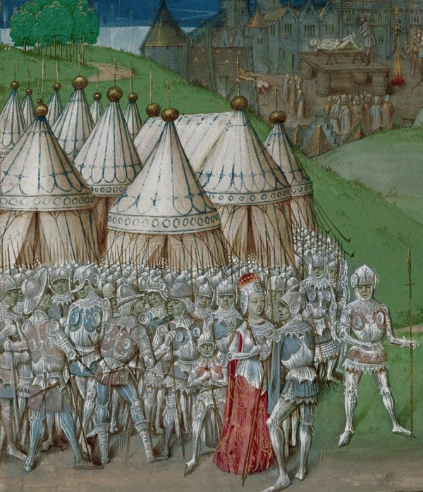 15th-century manuscript illustration depicting Roger Mortimer and Queen Isabella in the foreground. Background: Hugh Despenser the Younger on the scaffold, being emasculated.